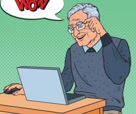 Grandpa learn internet chat cartoon vector