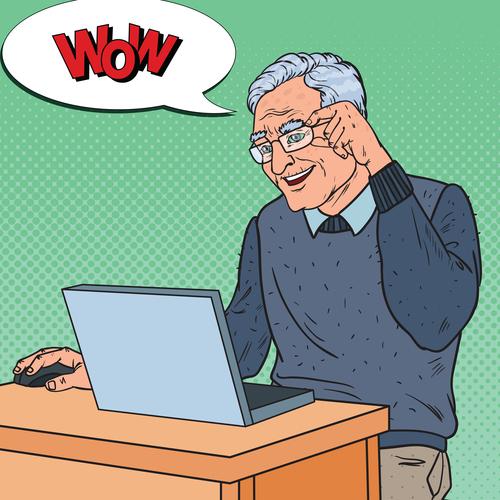Grandpa learn internet chat cartoon vector