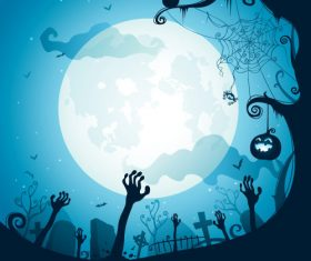 Graveyard halloween silhouette vector
