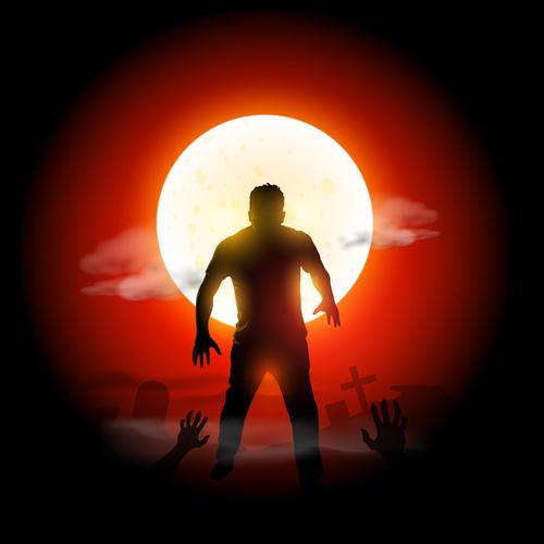 Graveyard zombie vector