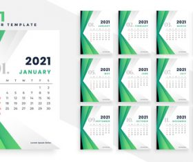 Green background 2021 calendar vector