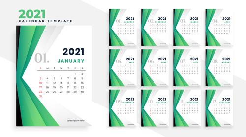Green background 2021 calendar vector