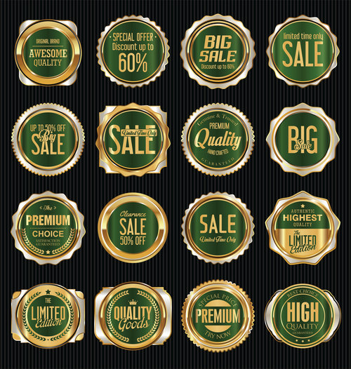 Green background sales labels collection vector