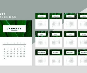Green leaf background 2021 calendar vector