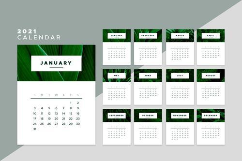 Green leaf background 2021 calendar vector