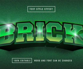 Green matte background BROCK editable font effect text vector