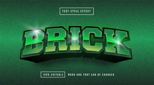 Green matte background BROCK editable font effect text vector