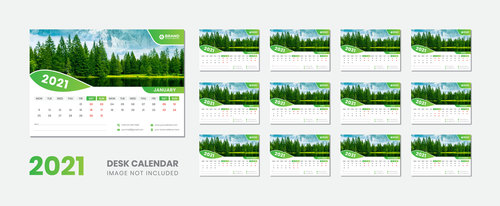 Green pine background 2021 desk calendar vector