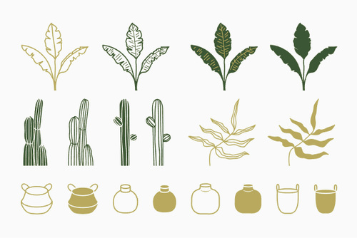 Green plant and bottle silhouette vector