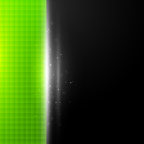 Green squares vector on black background