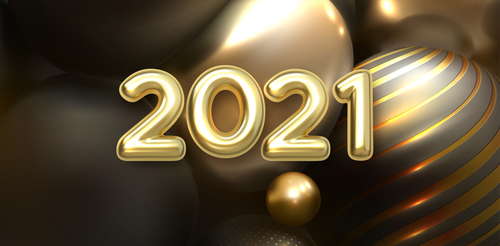 Greeting the new year 2021 greeting card vector