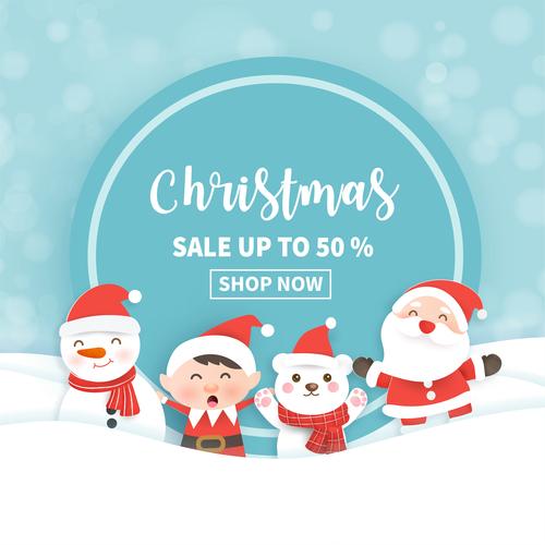 Half price sale christmas flyer vector