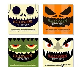Halloween Instagram Post Collection with Close up Faces vector