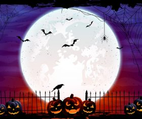 Halloween background with Moon in the sky and pumpkins