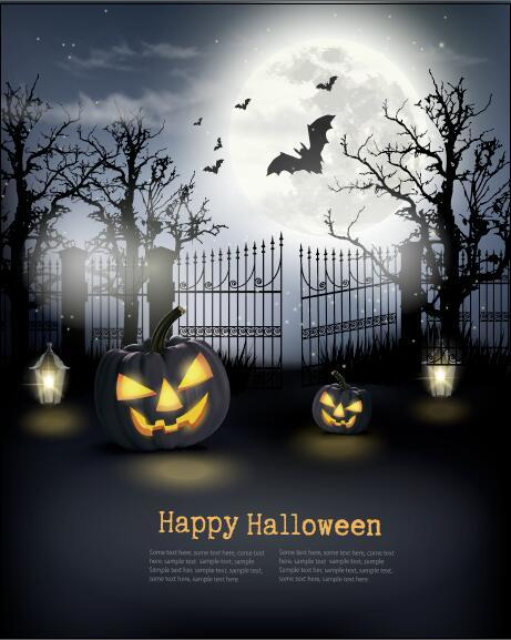 Halloween background with pumpkins and space vector