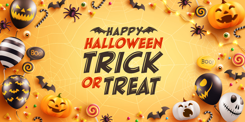 Halloween card background trick or treat vector