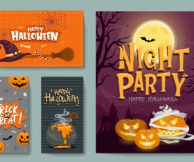 Halloween card collection vector