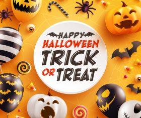 Halloween card with cute pumpkin bat and candy vector