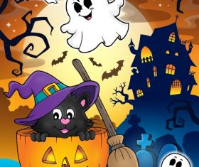 Halloween cat theme vector