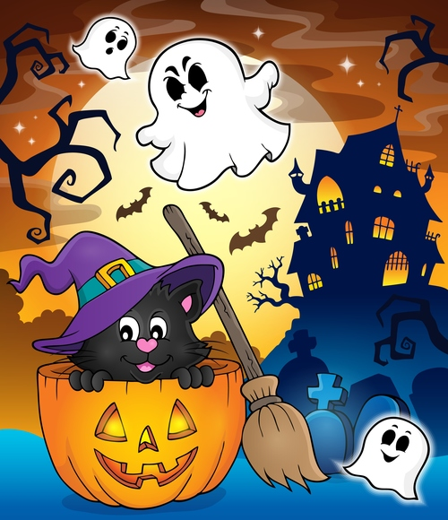 Halloween cat theme vector
