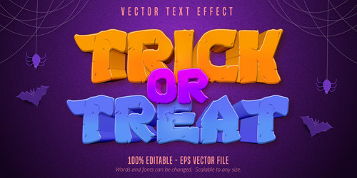 Halloween color editable font effect text vector