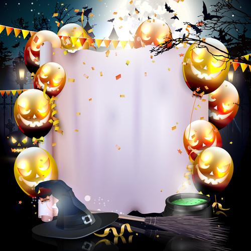 Halloween colorful balloon decoration vector