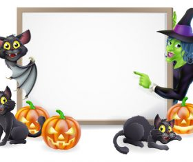 Halloween elements and whiteboard vector