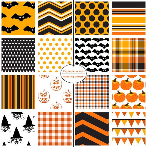 Halloween elements seamless pattern vector