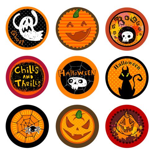 Halloween funny label vector