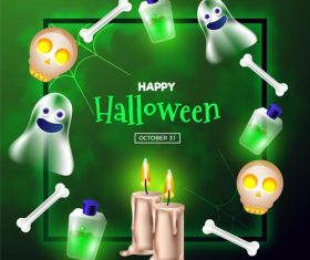 Halloween ghost potion candle element card vector