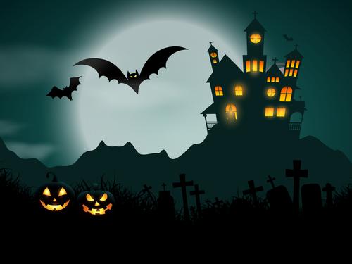 Halloween haunted house background vector