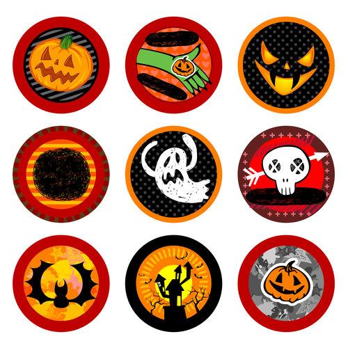 Halloween label set vector