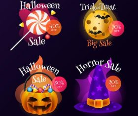 Halloween mall promotion card vector