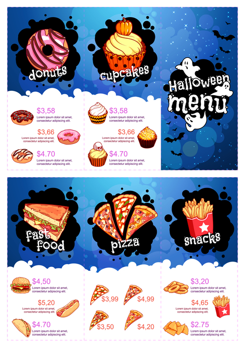Halloween menu vector