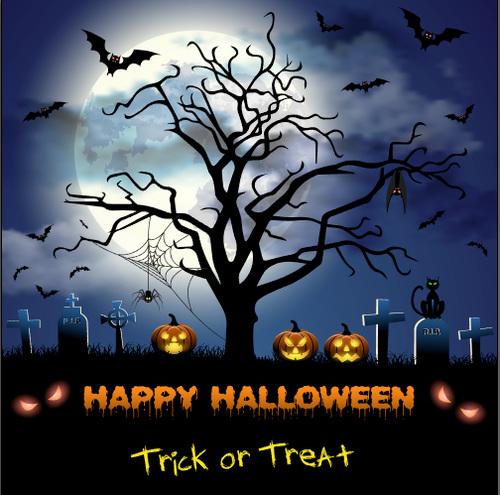 Halloween night graveyard vector