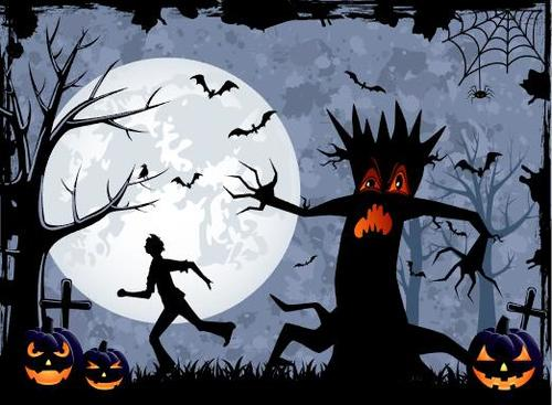 Halloween night running man silhouette vector