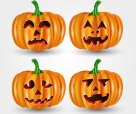Halloween pumpkin emoji card vector