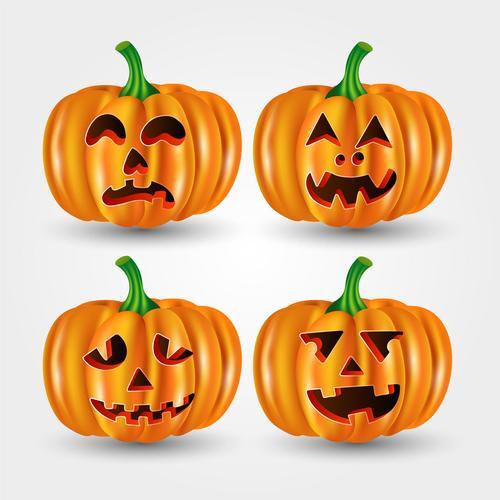 Halloween pumpkin emoji card vector