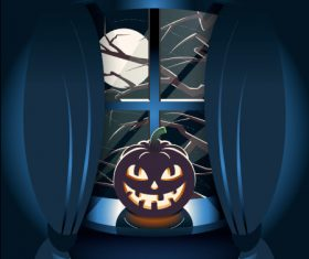 Halloween pumpkin lantern on windowsill vector
