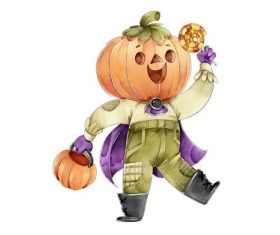 Halloween pumpkin people cartoon vector