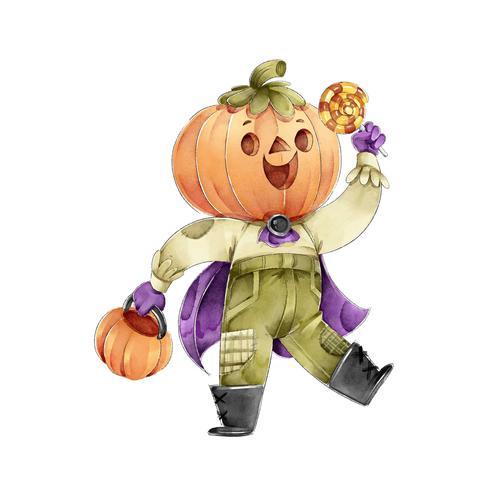 Halloween pumpkin people cartoon vector