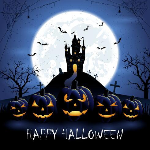 Halloween pumpkins and castle on blue night background vector