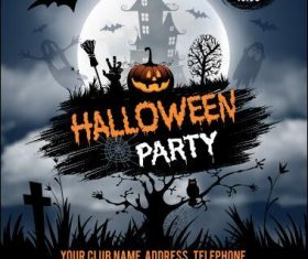Halloween rave party flyer vector