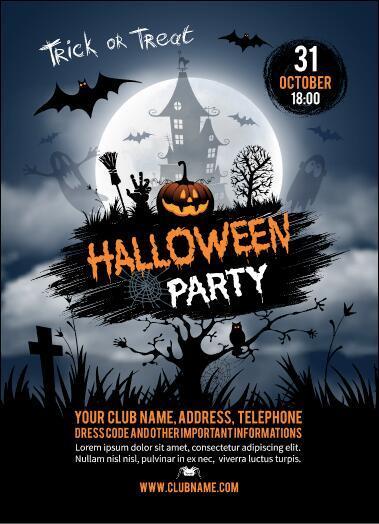 Halloween rave party flyer vector
