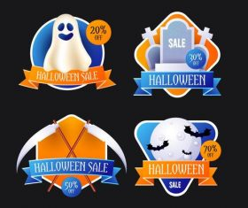 Halloween sale tag vector