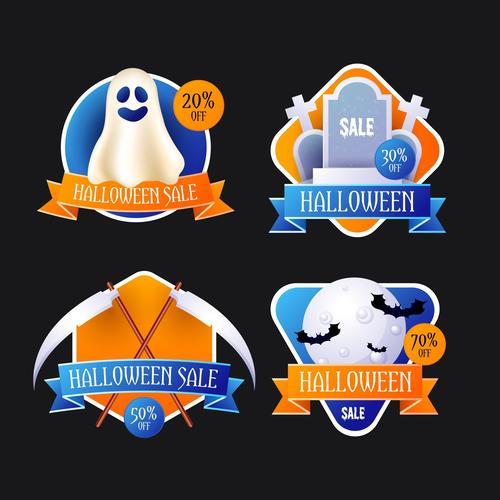 Halloween sale tag vector