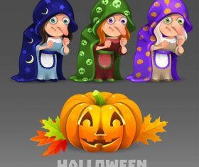 Halloween witch set vector