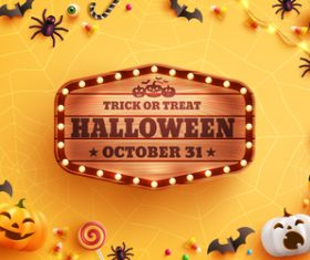 Halloween wooden billboard vector