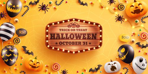 Halloween wooden billboard vector