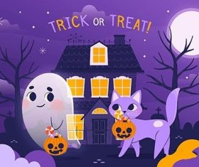 Hand-Drawn Happy Halloween Background with Ghost Cat vector